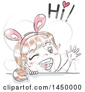 Clipart Graphic Of A Retro Sketched White Girl Wearing Bunny Ears Waving And Saying Hi Royalty Free Vector Illustration by BNP Design Studio