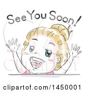 Clipart Graphic Of A Retro Sketched White Girl Saying See You Soon Royalty Free Vector Illustration