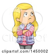 Clipart Graphic Of A Jealous Blond White Girl With Folded Arms Royalty Free Vector Illustration