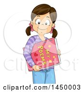 Clipart Graphic Of A Happy Brunette White Girl Carrying A Book Of Her Poems Royalty Free Vector Illustration