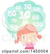 Clipart Graphic Of A Happy Red Haired White Girl Counting By Ten Royalty Free Vector Illustration