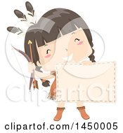 Clipart Graphic Of A Happy Native American Indian Girl Holding A Bow Arrow And Blank Sign Royalty Free Vector Illustration