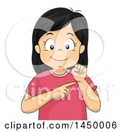 Clipart Graphic Of A Happy Girl Pointing To Her Wrist Royalty Free Vector Illustration by BNP Design Studio