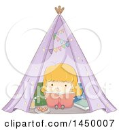 Clipart Graphic Of A Sketched Blond White Girl Reading A Book In A Tent Royalty Free Vector Illustration