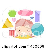 Clipart Graphic Of A Happy White Girl Juggling Shapes Royalty Free Vector Illustration