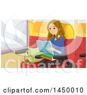 Poster, Art Print Of Happy White Teen Girl Reading A Book On Her Way To School