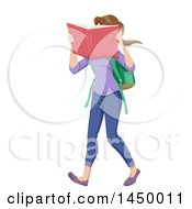 Poster, Art Print Of White Teen Girl With Hrer Face In A Book While Walking To School
