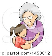 Clipart Graphic Of A Sketched Happy White Haired Senior White Woman Hugging Her Grand Daughter Royalty Free Vector Illustration