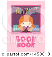 Clipart Graphic Of A Red Haired White Girl Reading A Book In A Nook With Text On Pink Royalty Free Vector Illustration