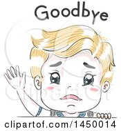 Clipart Graphic Of A Retro Sad Sketched Blond White Boy Waving Goodbye Under Text Royalty Free Vector Illustration
