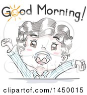 Clipart Graphic Of A Retro Sketched White Boy Stretching And Shouting Good Morning Royalty Free Vector Illustration