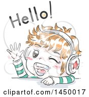 Clipart Graphic Of A Retro Sketched Red Haired White Boy Waving And Wearing Headphones Under Hello Text Royalty Free Vector Illustration