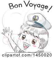 Retro Sketched White Boy Wearing A Sailor Hat And Waving Under Bon Voyage Text