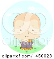 Clipart Graphic Of A Sketched Monk Boy Reading Outdoors Royalty Free Vector Illustration