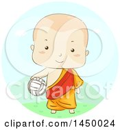 Clipart Graphic Of A Sketched Monk Boy Holding A Volleyball Royalty Free Vector Illustration