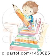 Clipart Graphic Of A Sketched Brunette White School Boy Holding A Pencil On A Book Path Royalty Free Vector Illustration