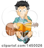 Clipart Graphic Of A Boy Sitting On The Floor And Reading A Book While Learning How To Play The Guitar Royalty Free Vector Illustration