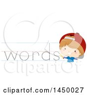 Poster, Art Print Of White Boy Writing Words On Ruled Paper