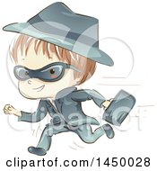 Clipart Graphic Of A Sketched White Spy Boy Running With A Briefcase Royalty Free Vector Illustration by BNP Design Studio