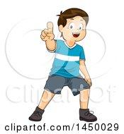 Happy Brunette White Boy Pointing