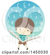 Sketched Brunette White Boy Reading A Book With A Circle Of Alphabet Letters