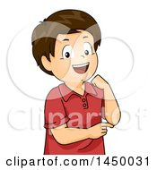 Clipart Graphic Of A Happy Brunette White Boy Pointing To His Elbow Royalty Free Vector Illustration