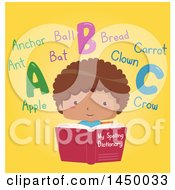 Poster, Art Print Of Happy Boy Reading A Dictionary With Words On Yellow