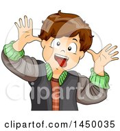 Clipart Graphic Of A Brunette Caucasian Boy Making A Funny Face Royalty Free Vector Illustration