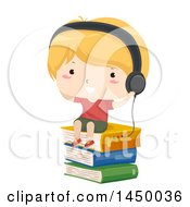 Clipart Graphic Of A Blond White Boy Wearing Headphones And Sitting On A Stack Of Books Royalty Free Vector Illustration by BNP Design Studio
