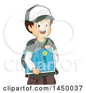 Clipart Graphic Of A Happy Brunette White Boy Carrying An Adventure Book Royalty Free Vector Illustration by BNP Design Studio