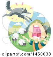 Clipart Graphic Of A Fable Scene Of The Boy Who Cried Wolf Royalty Free Vector Illustration