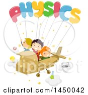 Clipart Graphic Of A Group Of Children Flying In A Cardobard Plane With Physics Balloons Royalty Free Vector Illustration