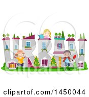 Clipart Graphic Of A Group Of Children Tending An Urban Word Garden Royalty Free Vector Illustration