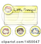 Clipart Graphic Of A Sketched Little Principal Name Tag And Other Faces Royalty Free Vector Illustration by BNP Design Studio