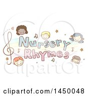 Sketched Group Of Children With Nursery Rhymes Text