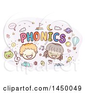 Sketched Boy And Girl With Phonics Text