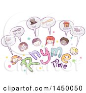 Sketched Group Of Children With Rhyme Time Text