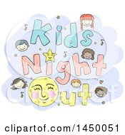 Sketched Group Of Children With Kids Night Out Text