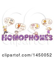 Clipart Graphic Of A Sketched Group Of Children With Homophones Text Royalty Free Vector Illustration
