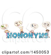 Sketched Group Of Children With Homonyms Text