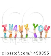Clipart Graphic Of A Group Of Sketched Child Hands Holding Up Letters And Spelling The Words Thank You Royalty Free Vector Illustration