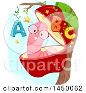 Clipart Graphic Of A Happy Worm In An Apple With Abcs Royalty Free Vector Illustration