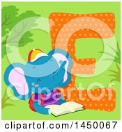 Clipart Graphic Of A Cute Elephant With The Letter E Royalty Free Vector Illustration by BNP Design Studio