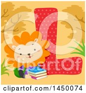 Clipart Graphic Of A Cute Lion With The Letter L Royalty Free Vector Illustration