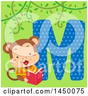 Clipart Graphic Of A Cute Monkey With The Letter M Royalty Free Vector Illustration
