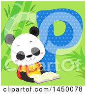 Clipart Graphic Of A Cute Panda With The Letter P Royalty Free Vector Illustration