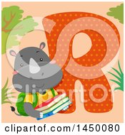 Clipart Graphic Of A Cute Rhino With The Letter R Royalty Free Vector Illustration by BNP Design Studio