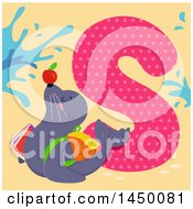 Clipart Graphic Of A Cute Seal With The Letter S Royalty Free Vector Illustration by BNP Design Studio