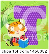 Clipart Graphic Of A Cute Tiger With The Letter T Royalty Free Vector Illustration by BNP Design Studio