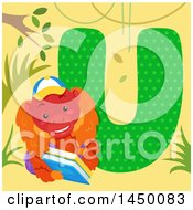 Clipart Graphic Of A Cute Uakari With The Letter U Royalty Free Vector Illustration